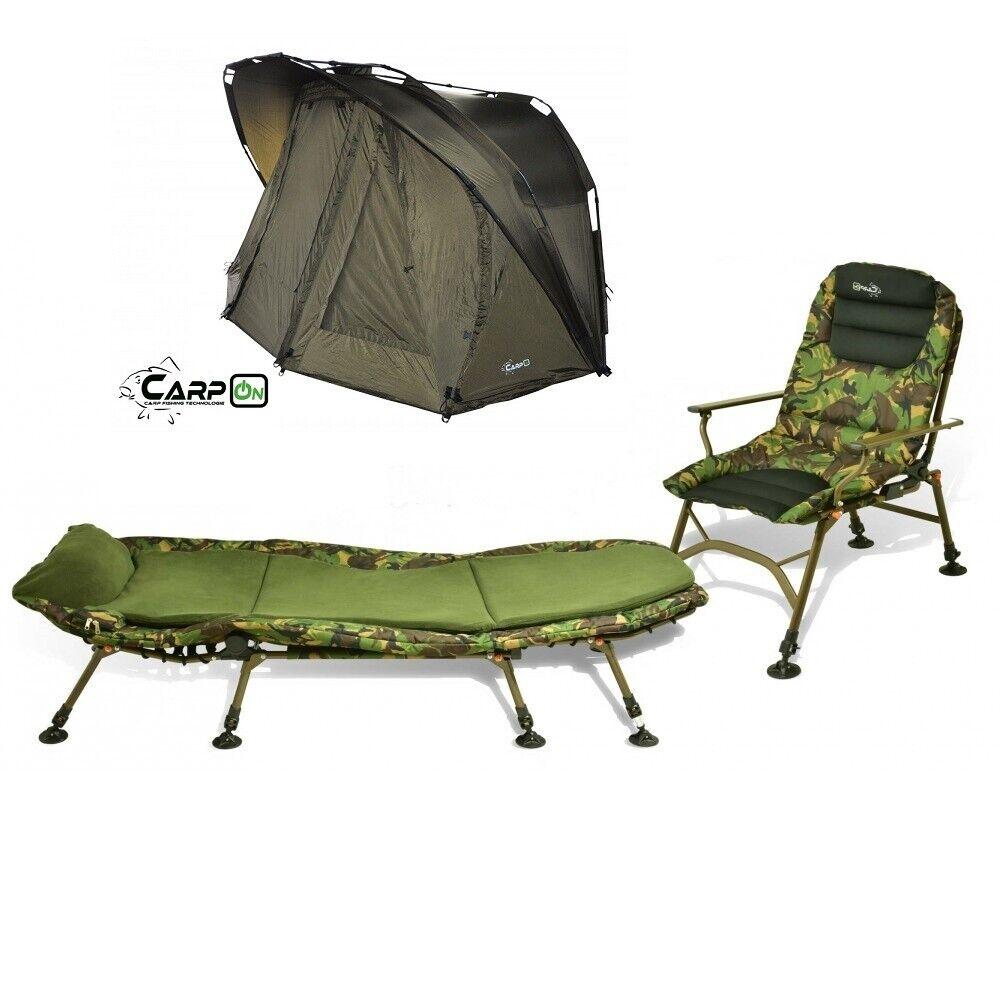 Carpon Camou set ultra Comfort angel silla + karpfenliege + tienda de camping