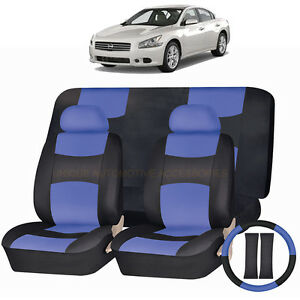 Image Is Loading PU LEATHER BLUE Amp BLACK SEAT COVERS 11PC
