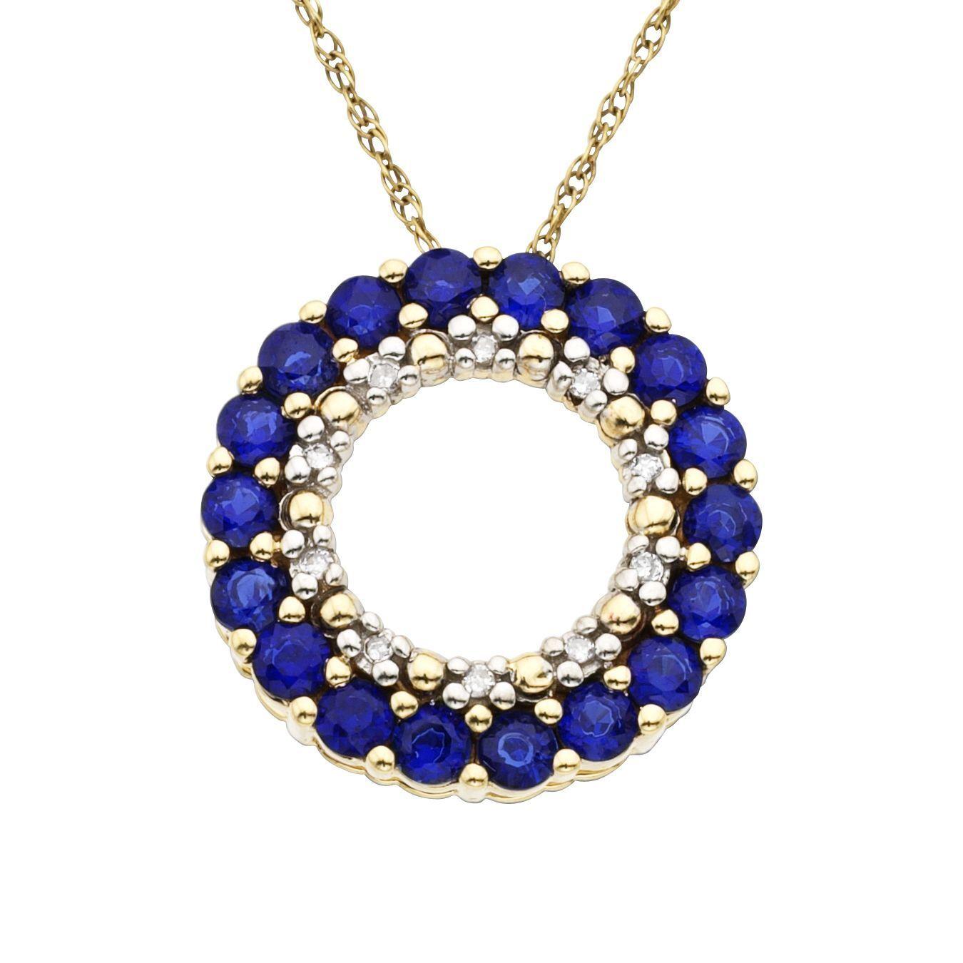 10K Yellow gold Sapphire Pendant