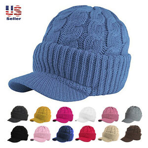 e75f50257 New Unisex Chunky Cable Knit Visor Brim Winter Hat Beanie Thick ...