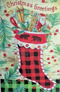 "Christmas Greetings Standard House Flag by Toland #8277  28"" x 40"" Woodland"