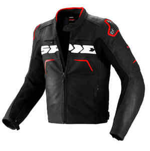 Spidi-Evo-Rider-Motorcycle-Leather-Sports-Race-Waterproof-Jacket-Black-Red