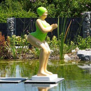 Deko badende figur elli badeanzug limette frau skulptur badenixe gartenfigur ebay - Moderne gartenaccessoires ...