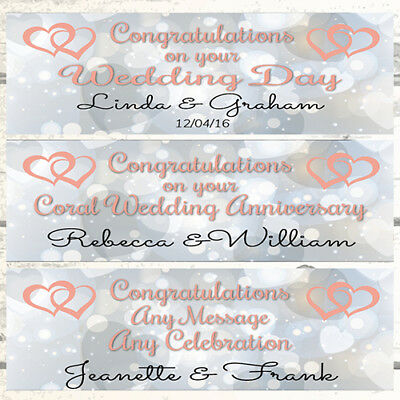 2 PERSONALISED HEARTS JOINED WEDDING BANNERS SAPPHIRE 45TH WEDDING ANNIVERSARY