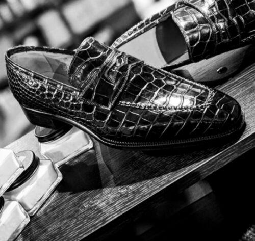 Handmade Men/'s Black Almond Toe Crocodile Texture Leather Moccasin Dress Shoes