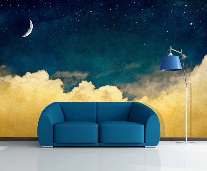 3D Bule Sky Stars 5 Wallpaper Murals Wall Print Wallpaper Mural AJ WALL AU Lemon