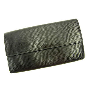 Louis-Vuitton-Wallet-Purse-Long-Wallet-Epi-Black-Woman-Authentic-Used-Y3626