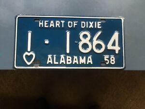Alabama Car Tags >> Alabama License Plates Car Tags 1958 Ebay