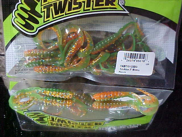 """Mister Twister 3/"""" Tri-Alive Grubs 15 Pack TAMT15-31PG in TENN SHAD for Walleye"""