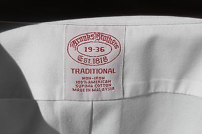 Brooks Brothers 19/36 Gentleman's White Non-Iron Supima Cotton Shirt