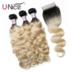UNice-Brazilian-Human-Hair-T1B613-Ombre-Blonde-Hair-3-Bundles-With-Lace-Closure