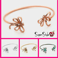 Bug Insect Bracelet Dragonfly Tip Cuff Fashion Carved Metal Design