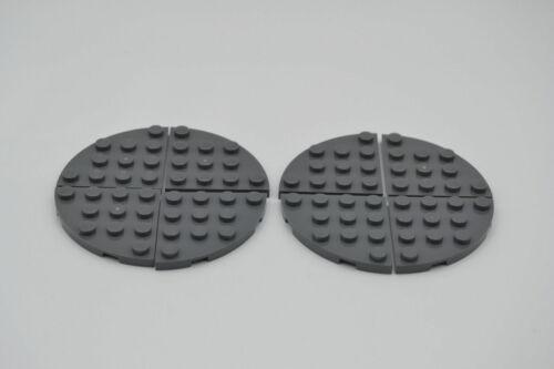 LEGO 8 x Platte neues dunkelgrau Dark Bluish Gray Plate Round Corner 4x4 30565