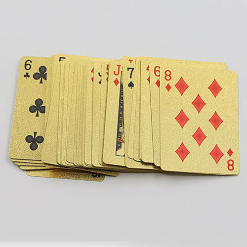 Golden Playing Cards Deck gold foil poker 24K Gold Plastic Waterproof Cards Game