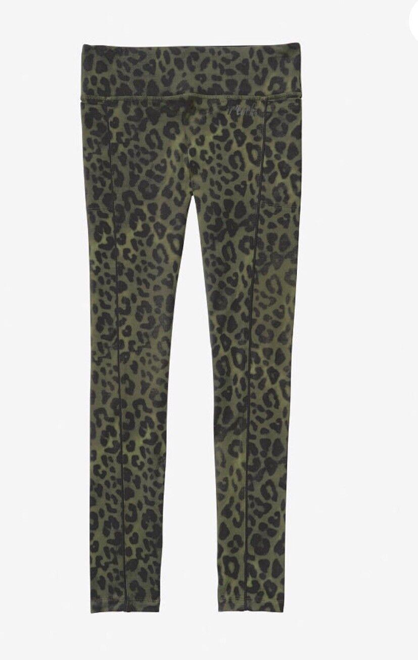 NWT Victoria's Secret Pink Ultimate High Waist  Leggings Olive Leopard Sz-Large