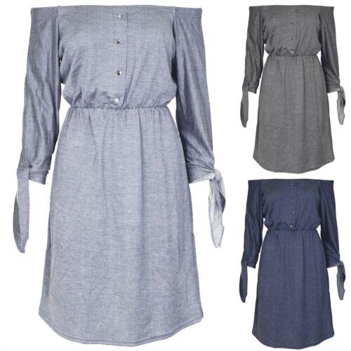 Womens Ladies Denim Look Elastic Off Shoulder 3//4 Tie Sleeve Baggy Shirt Dress