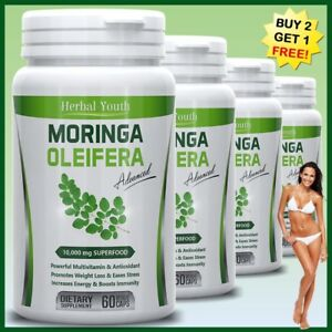 Moringa-Oleifera-LEAF-EXTRACT-Capsules-10-000mg-SUPERFOOD-100-Multivitamin-Pill