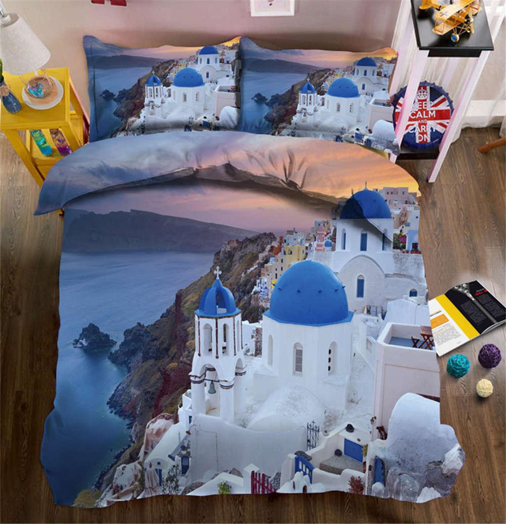 Santorini Greek 3D Printing Duvet Quilt Doona Covers Pillow Case Bedding Sets