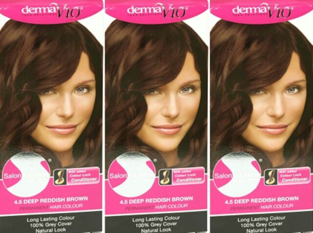 Salon Fashion Permanent Hair Colour 4 5 Deep Reddish Brown X 3 Packs
