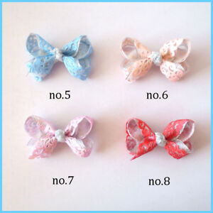 "50 BLESSING Girl 3/"" Two Tone ABC Bow Clip Gold Powder Ribbon Hair Bow Baby"