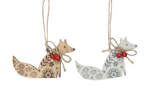 Gisela Graham en Bois New England Fox-Hanging Décorations pour arbres de Noël