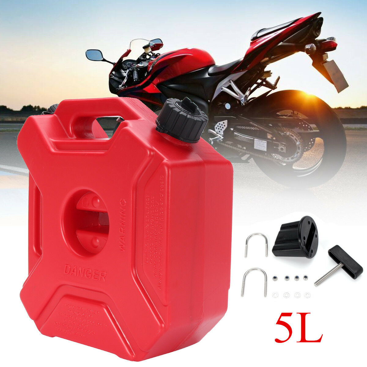 5L Red Plastic Garden Camping Caravan Water Carrier Fluid Jerry Can Container