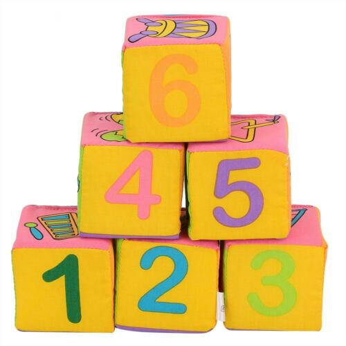 6pcs Building Blocks Cloth Soft Educational Learning Toys for Baby Toddler 145g