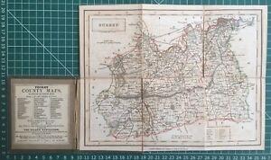 1830-Antique-Folding-Pocket-County-Map-of-Surrey-Chapman-amp-Hall