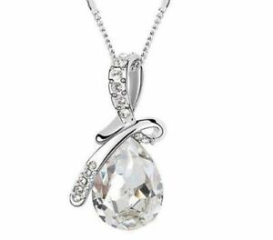 Women-Girls-Fashion-Silver-Crystal-Pendant-Necklace-Chain-Jewellery-nice-Gift