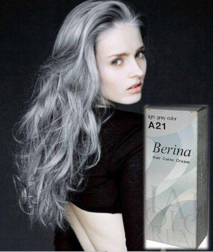Berina A21 Dye Hair Color Cream Light Grey Silver Permanent Hair ...