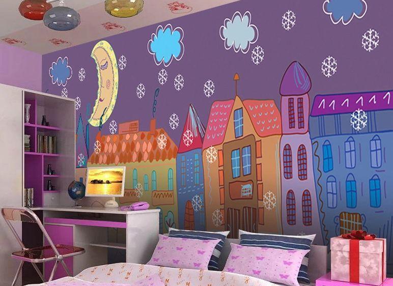 3D Night Stick Figure Wall Paper Wall Print Decal Wall Deco Indoor wall Murals