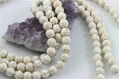 """16"""" Howlite Turquoise Loose Beads Round 10mm WHITE"""