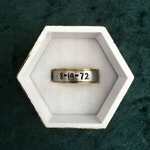 Stainless-Steel-6mm-Gold-Edge-Comfort-Fit-Personalized-Engraved-Date-amp-Name-Ring