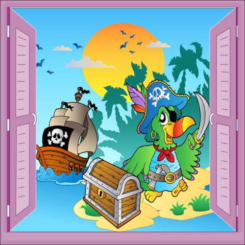 Sticker enfant Pirate fenêtre trompe l/'oeil réf 927
