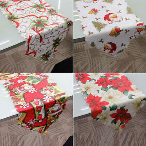 Home-Decorative-Christmas-Santa-Claus-Tapestry-Poinsettia-Table-Runner-14x71-034