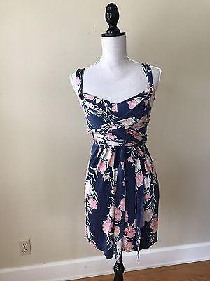 $298 Elie Tahari Renee Black Red Floral Silk Jersey Sleeveless Dress