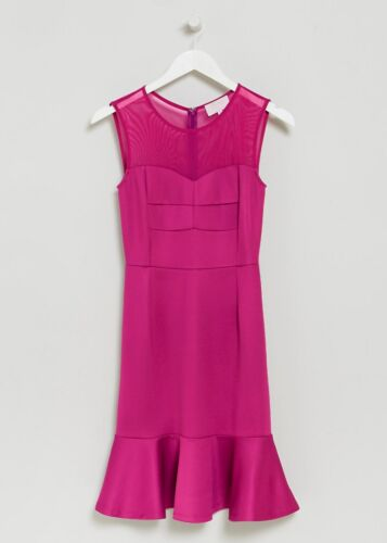 ex Matalan Philip Armstrong Pink Scuba Frill Hem Occasion Dress