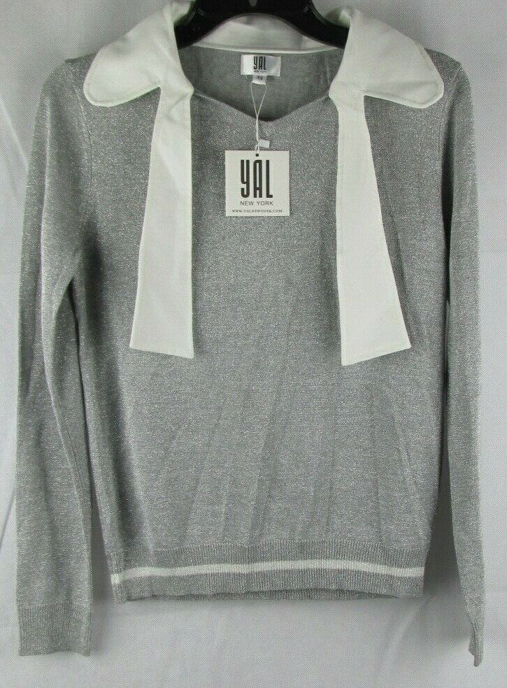 Yal New York damen grau Shimmer Sweater Blouse  With Tie Neck Größe XS