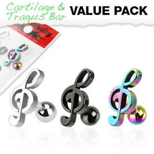 3-Pc-Treble-Clef-Ear-Cartilage-Daith-Tragus-Helix-Earrings-Barbell-Studs