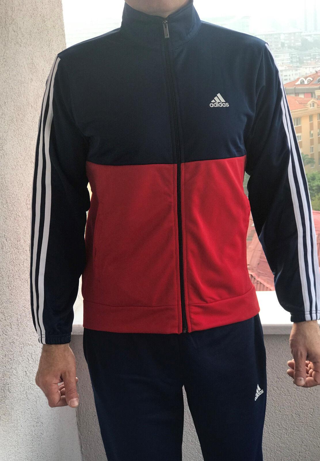 Klassischer Adidas Herren Tracking Anzug mit Hose Vintage Herren Modell Rot Blau