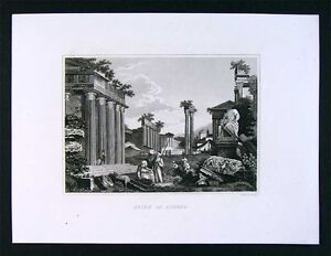 1847-Malte-Brun-Engraved-Print-Ruins-of-Athens-Greece-Architecture-Europe