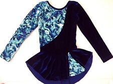 Girls Ice Figure Skating Competition Dress 8/10 Dance Costume Royal Blue Glitter