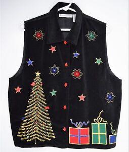f4943fd762b Image is loading Dressbarn-Ugly-Christmas-Sweater-Vest-Velvet-Black-Cardigan -