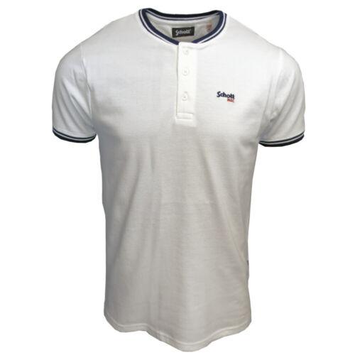 Mens Schott NYC PSBEN Retro Bomber Collar Polo Shirt