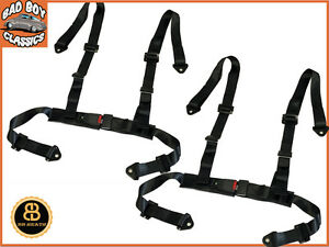 Black-4-Point-Car-Racing-Seat-Belt-Safety-Harness-Universal-Design-x2