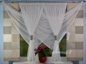 Neu Fenster 180 Cm Gardine Komplett Dekoration Wohnzimmer Weiss Grau