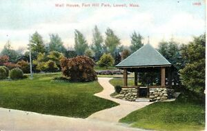 Unused-Antique-Color-Postcard-Well-House-Fort-Hill-Park-Lowell-Massachusetts