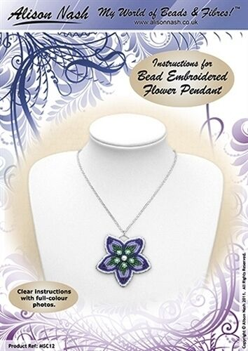 Bead Embroidered Flower Pendant BEADING INSTRUCTIONS Suitable for beginners!