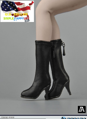 1//6 woman classic leather Black boots for phicen hot toys verycool kumik ❶USA❶