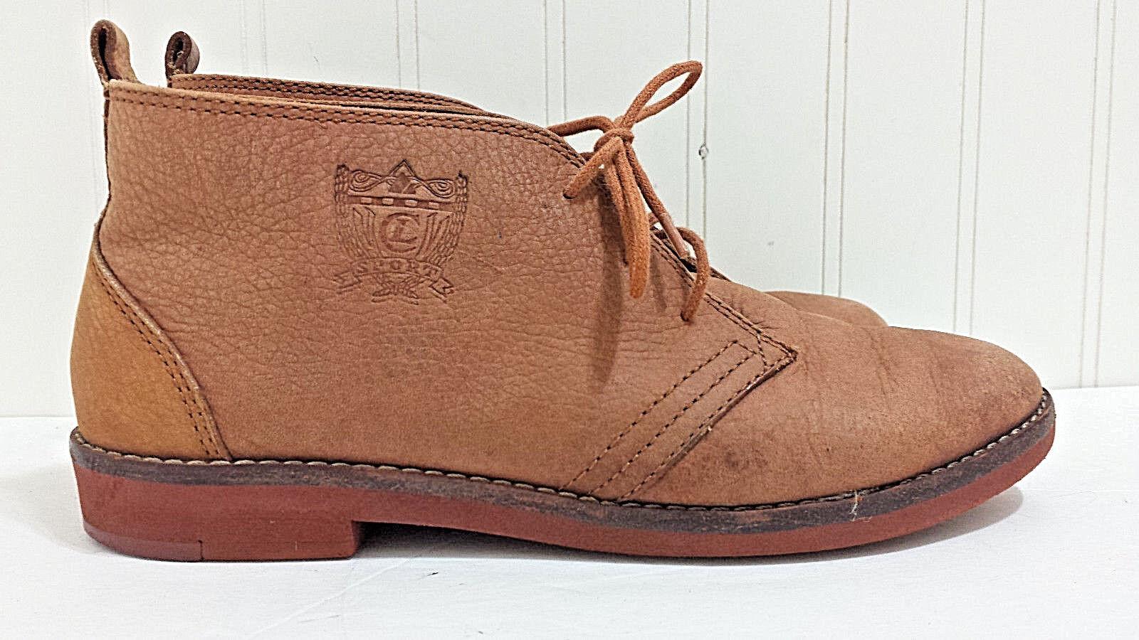 Rare LIZ CLAIBORNE SPORT Sample shoes 6M Tan Leather Lace Ankle Boots Predotype
